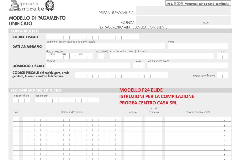 modello f24 versamenti con elementi identificativi